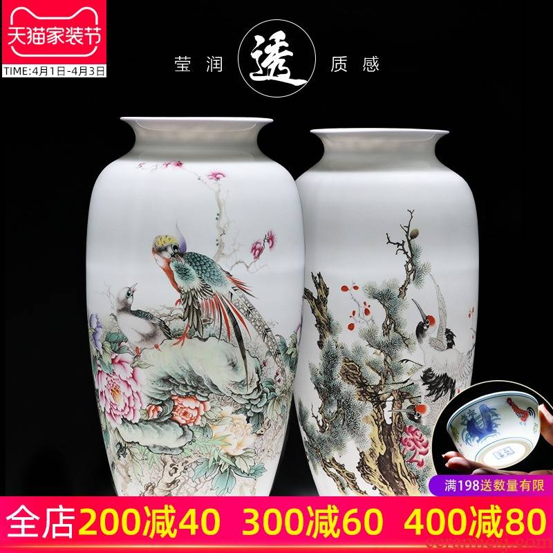 Porcelain of jingdezhen Porcelain vases, pottery and Porcelain furnishing articles sitting room dry flower arranging flowers child thin body new Chinese style household ornaments