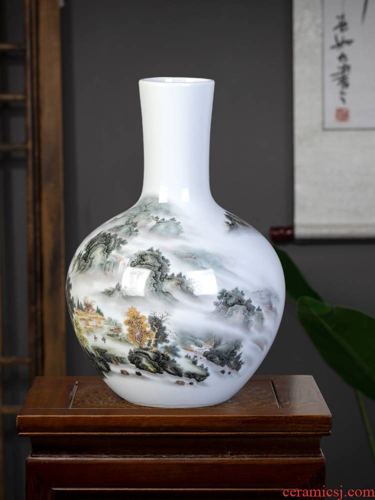 Landscape painting of jingdezhen ceramics vase furnishing articles Chinese flower arranging rich ancient frame sitting room home decoration arts and crafts