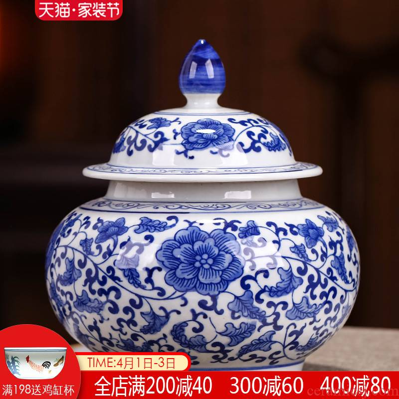 Blue and white porcelain of jingdezhen ceramics caddy fixings with cover seal puer tea pot 1 catty household storage decorative furnishing articles