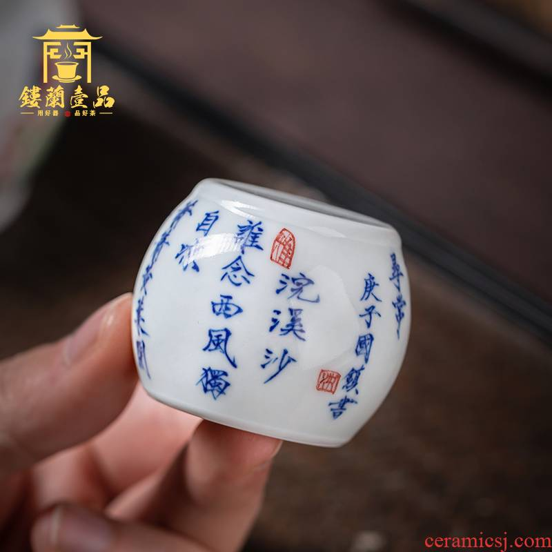 Jingdezhen ceramic cover set all hand - made porcelain USES GaiWanCha cover whole hand collectables - autograph paperweight tea accessories