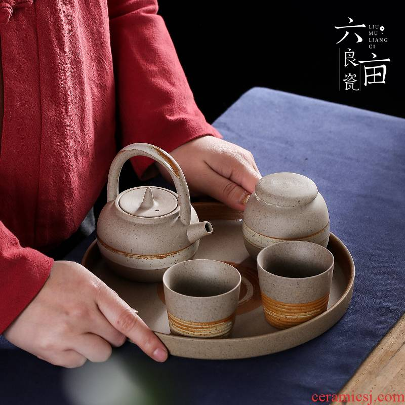 Coarse pottery cup to crack a pot of a glass or two portable receive travel car tray was Japanese kung fu tea set