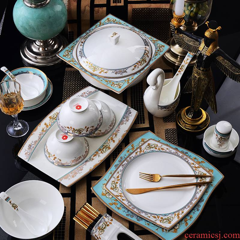 High - grade ipads China tableware suit dish bowl suit light dishes European - style key-2 luxury dishes suit household combination of gifts