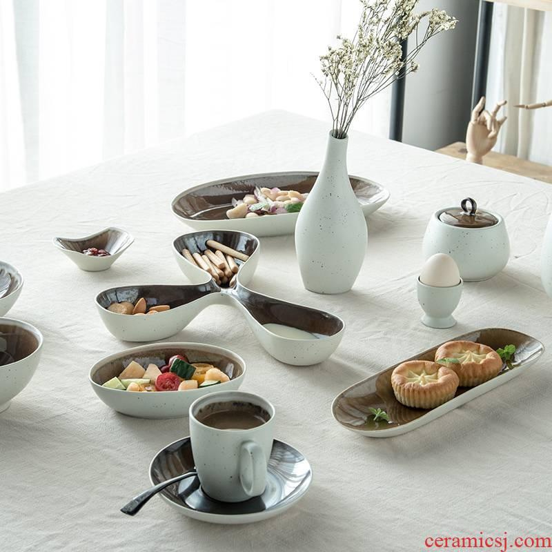 Lototo ceramic tableware household food dish plate of Japanese good creative abnormity ikea pasta dish plate