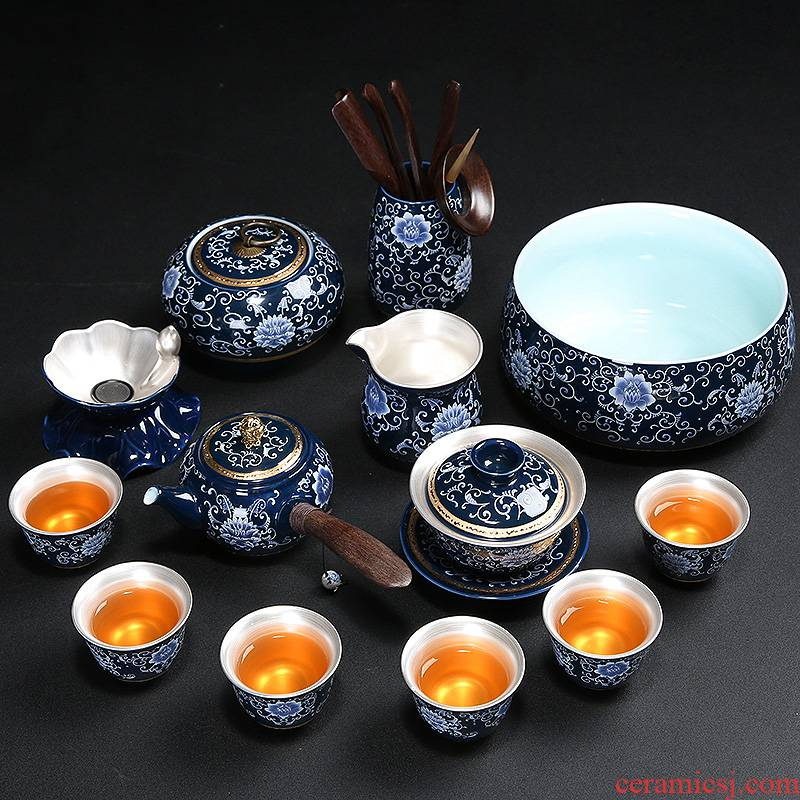 Blue and white coppering. As silver tea set a complete set of kung fu tea set manually household ceramic tea set tea tray teapot teacup gift boxes