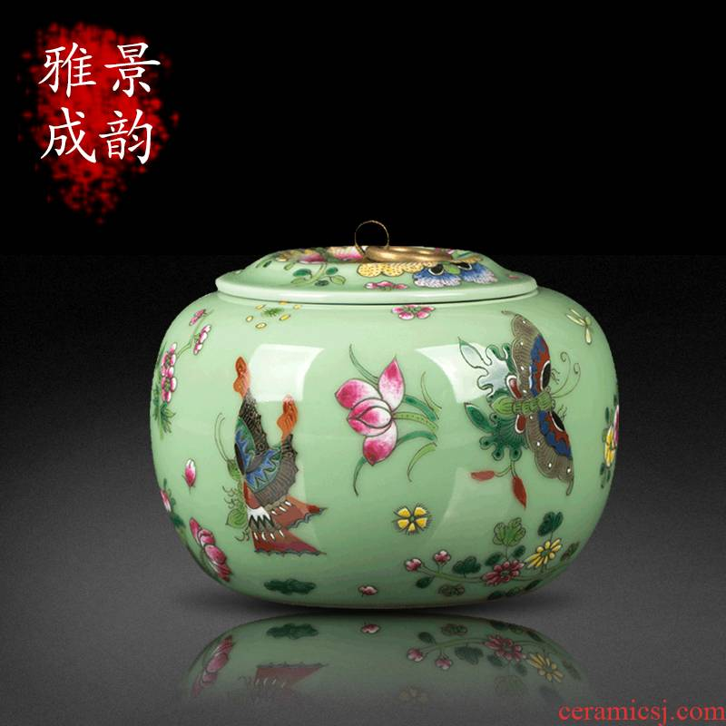 Jingdezhen ceramic pea green butterfly caddy fixings home furnishing articles general tea store canned POTS