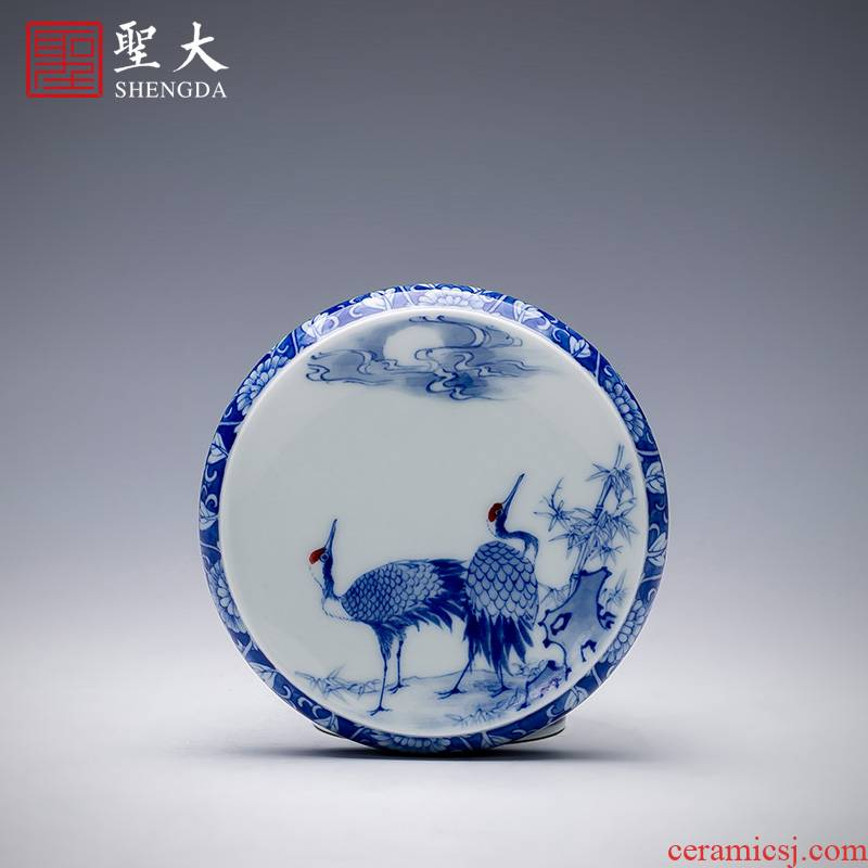 The big buy blue and white moonlit double crane, hand - made ceramic cover cover all hand jingdezhen kung fu tea accessories cover holder frame