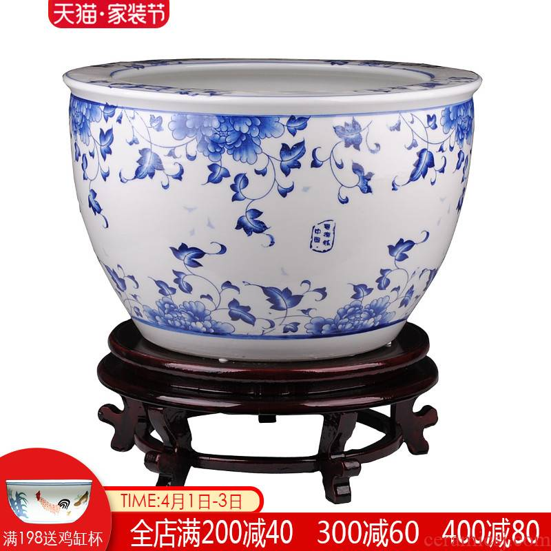 The tripod with two handles all The goldfish bowl of blue and white porcelain of jingdezhen ceramics have practical that occupy The home furnishing articles water lily tortoise cylinder in large