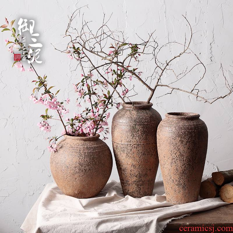 Manual coarse TaoHua device do old POTS of jingdezhen ceramic dry flower vase hand made Japanese teahouse zen flowerpot
