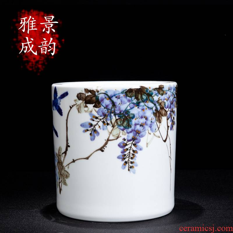 Jingdezhen ceramic hand - made sabingga sukdun dergici jimbi brush pot sitting room is the study of new Chinese style rich ancient frame accessories furnishing articles