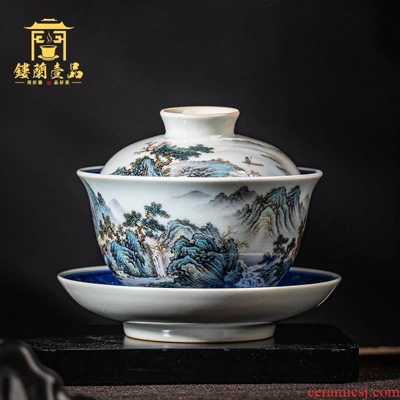 Jingdezhen ceramic all hand pastel blue and white landscape within three to make tea tureen hand - made kung fu tea set large bowl