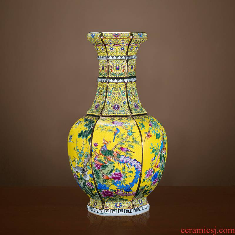 Archaize of jingdezhen ceramics powder enamel vase imitation qianlong year Chinese style classical Angle of the sitting room what adornment furnishing articles