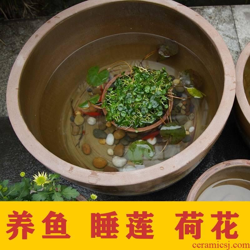 Ceramic aquarium fish basin to heavy large old fish GangPen basin of the lotus pond lily lotus garden home