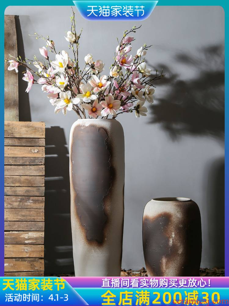 Jingdezhen creative furnishing articles of large vase retro nostalgia vase Chinese flower arranging dried flowers decorate the sitting room flower arrangement