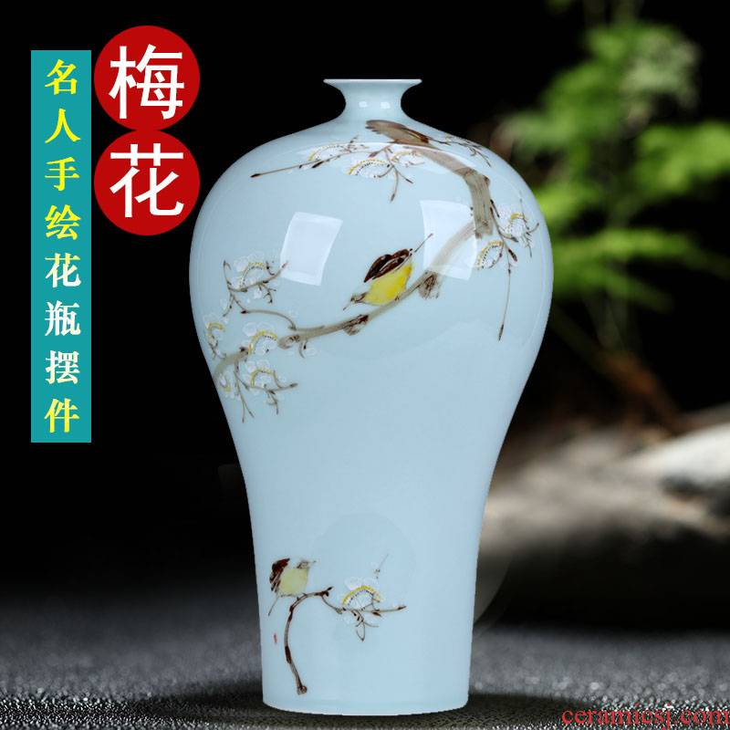 Jingdezhen ceramics hand - made vases name plum furnishing articles household act the role ofing is tasted the hall Chinese style restoring ancient ways home arranging flowers