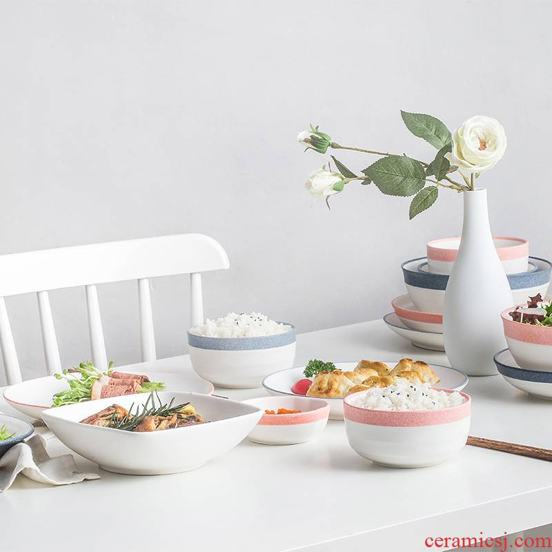 INS household use to eat Japanese - style tableware suit dishes ceramic bowl bowls plate combination Nordic soup bowl