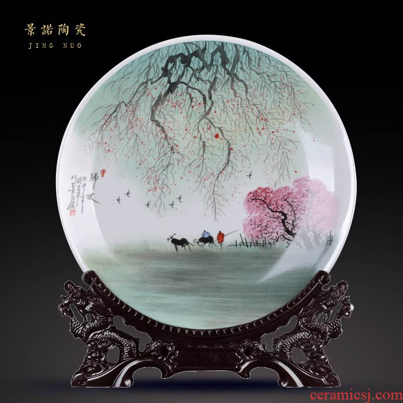New Chinese style classical jingdezhen ceramics hang dish decorate dish hand - made sat dish sitting room craft gift decoration furnishing articles