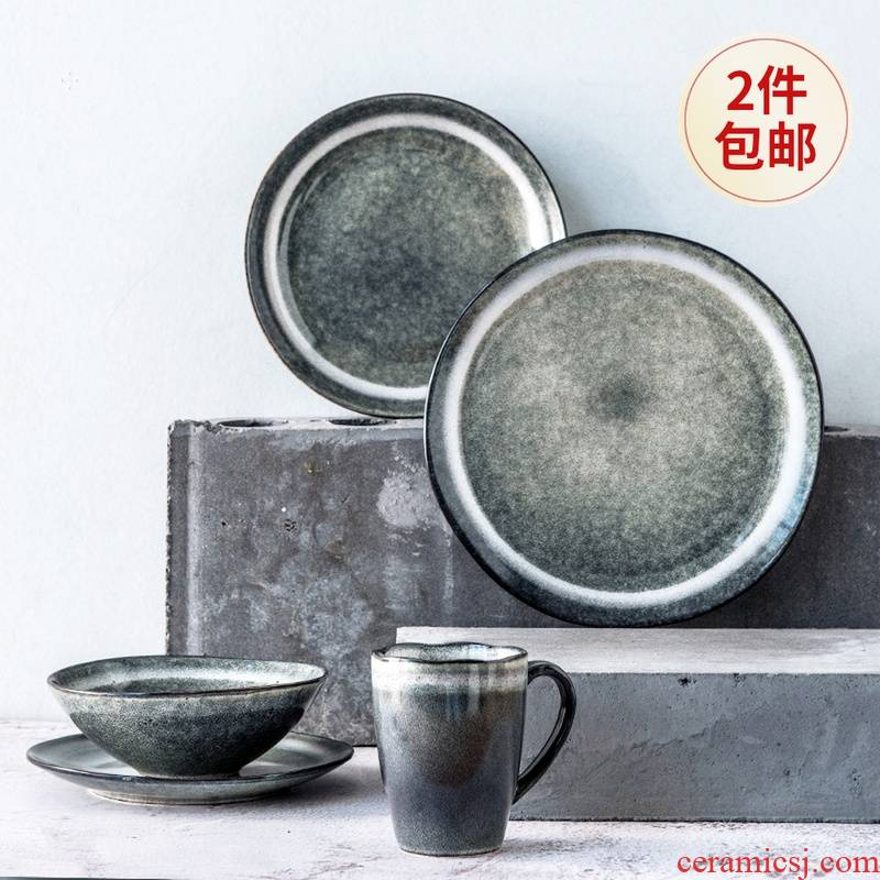 Lototo Japanese - style tableware suit ceramic dishes with rainbow such use creative steak 0 salad plate of the flat plate