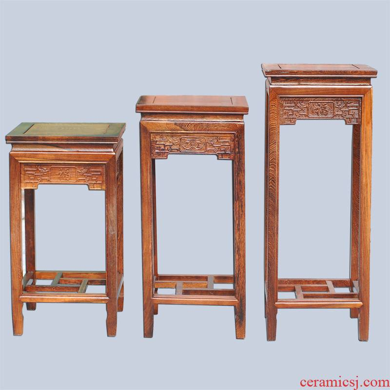 JingQin/square what annatto chicken wings wood carving furnishing articles of Chinese style household solid wood flower stands tall in the Ming and the qing dynasties base