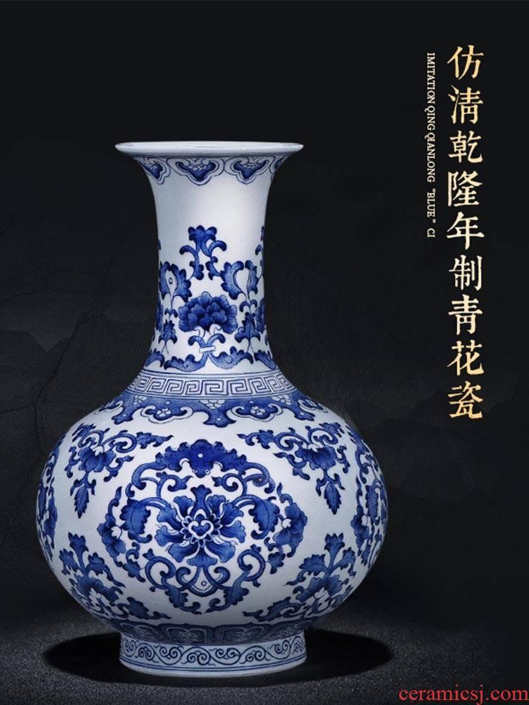 Jingdezhen ceramics antique imitation qianlong hand - made large blue and white porcelain vase furnishing articles flower arrangement home sitting room adornment