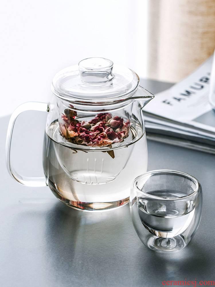 Porcelain color beauty creative glass teapot tea set domestic high temperature resistant filter glass teapot flower pot kettle