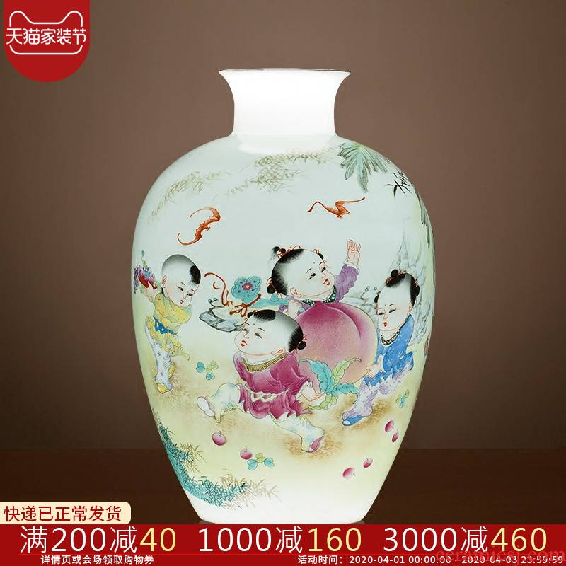 Jingdezhen ceramics lad peach thin foetus vases, flower arranging furnishing articles furnishing articles home sitting room adornment rich ancient frame