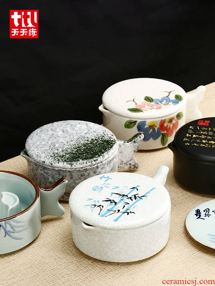 Practice everyday multi - purpose ceramic the inkwell with cover high - grade calligraphy sheng ink ink fountain pen writing more students lick the writing brush washer from Chinese painting ink inkstone ink dish of four treasures of the study Practice the tools with cover