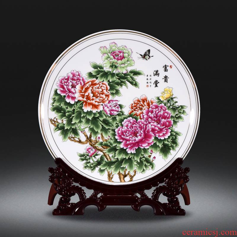 Jingdezhen ceramic decoration plate with a silver spoon in its ehrs expressions using the and classical household crafts are rich ancient frame TV ark, decoration