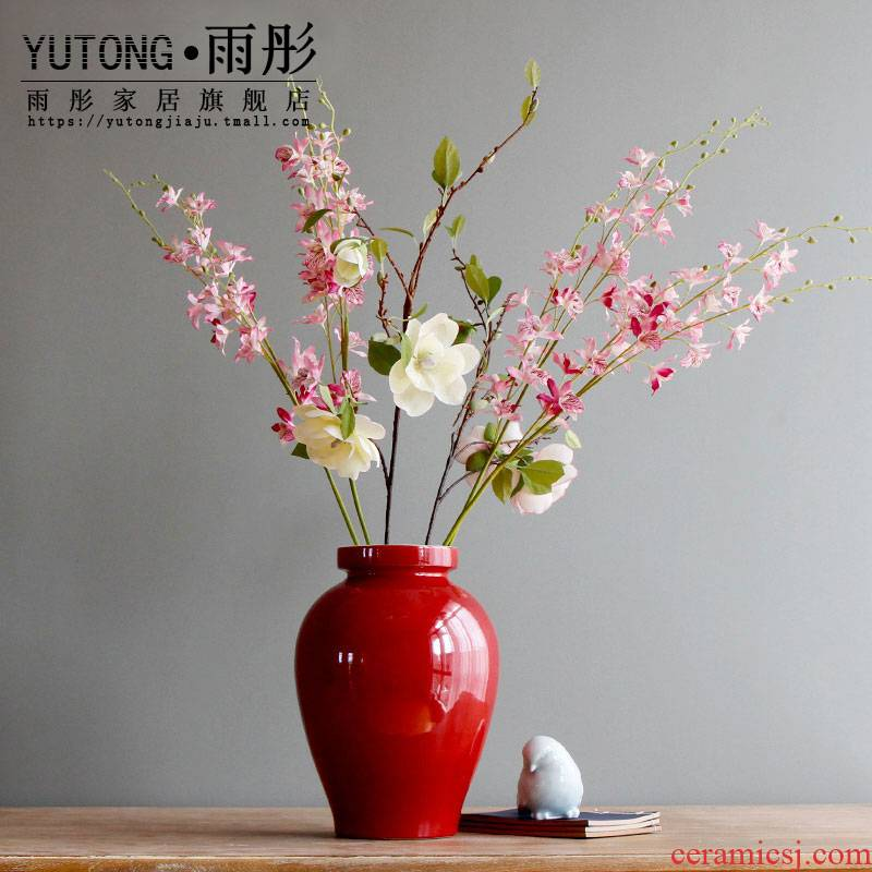 Rain tong home | jingdezhen ceramics high temperature high single glaze porcelain bottle expressions using pot - bellied flower ceramic decorative vase
