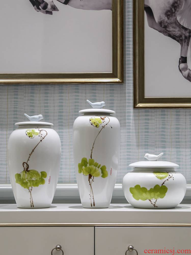 The Rural modern adornment household soft outfit decoration piggy bank furnishing articles jingdezhen ceramic painting of flowers and a porch handicraft