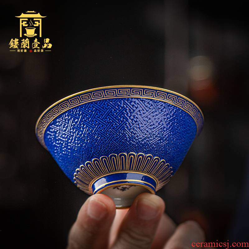 Jingdezhen ceramic checking old blue glaze see hand - cut master of kung fu tea cup household single cup large bowl