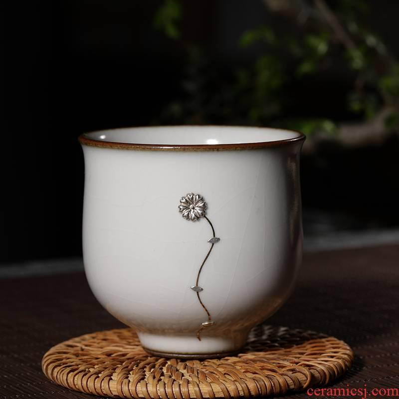 The View restoring museum manual nail gold silver curium and repair kung fu tea master of jingdezhen ceramic sample tea cup cup single CPU