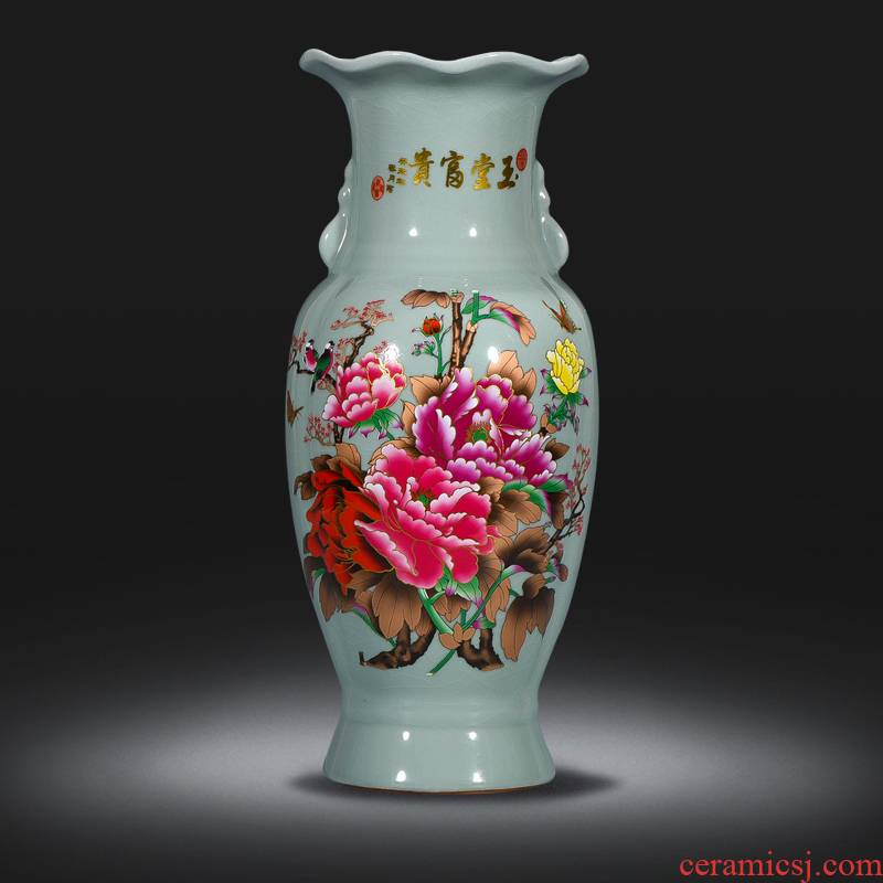 Jingdezhen ceramics blooming flowers peony vase furnishing articles Chinese style living room rich ancient frame home decoration decoration