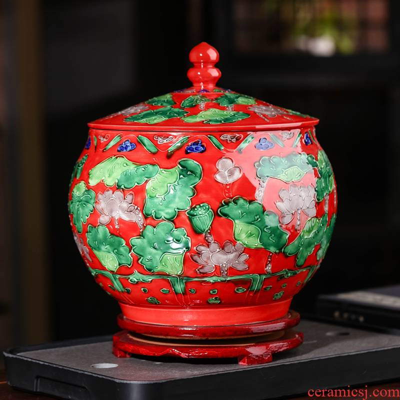 Jingdezhen ceramic checking antique carved mandarin duck storage tank caddy fixings classical household ornaments crafts