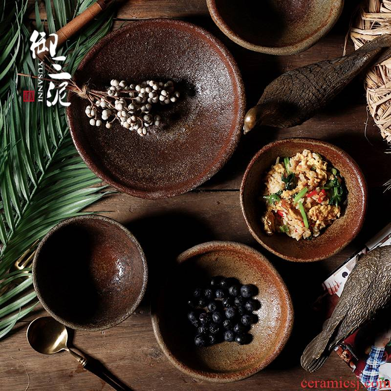 Arrange fruit bowl checking ceramic PiaoFeng and wind restoring ancient ways Chinese Japanese tableware light excessive coarse pottery brown antique bowl