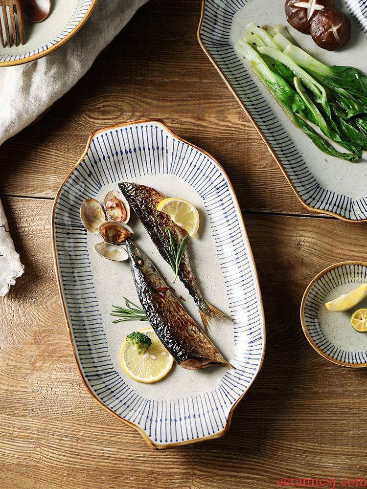 T take a Japanese ceramics ears fish dishes steamed fish dish household creative retro 0 with the large fish dish