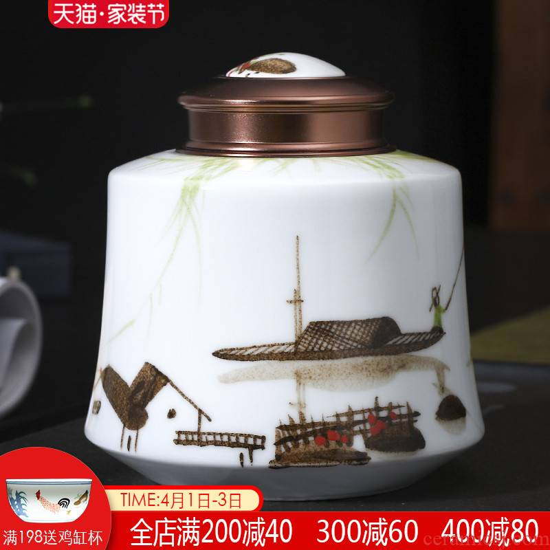 Jingdezhen ceramics caddy fixings sealed tank storage tanks pu - erh tea pot receives half jins of large household tea warehouse