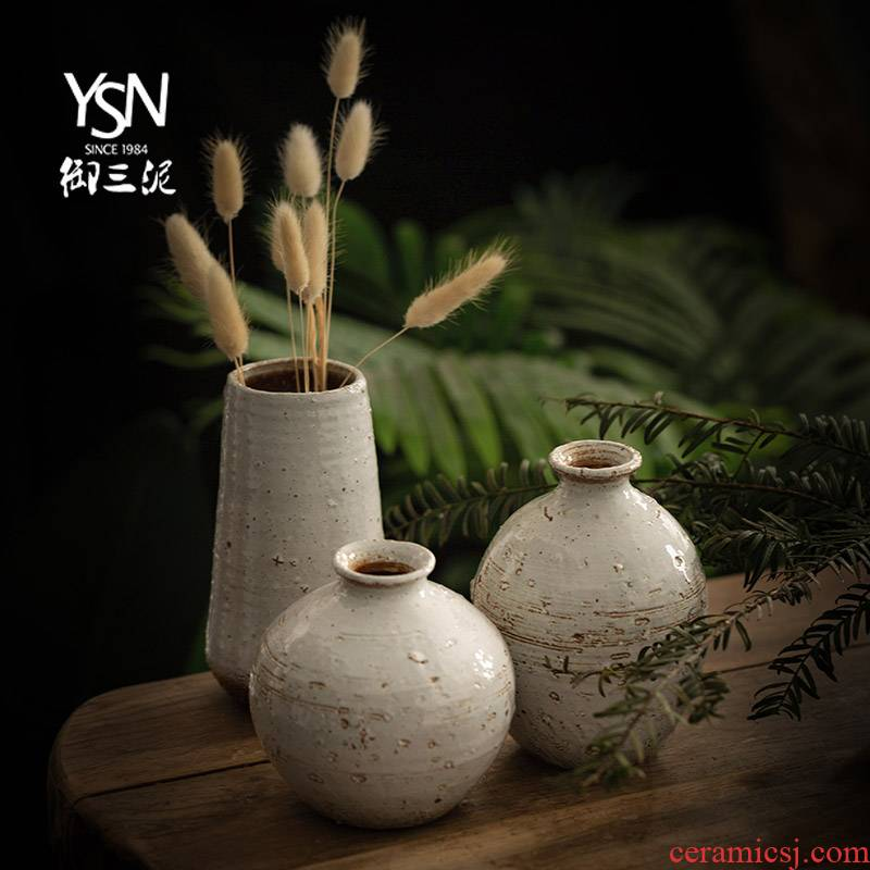 Coarse pottery clay miniature ceramic vase Japanese ceramic vase Coarse pottery flower implement tea zen Chinese style household furnishing articles