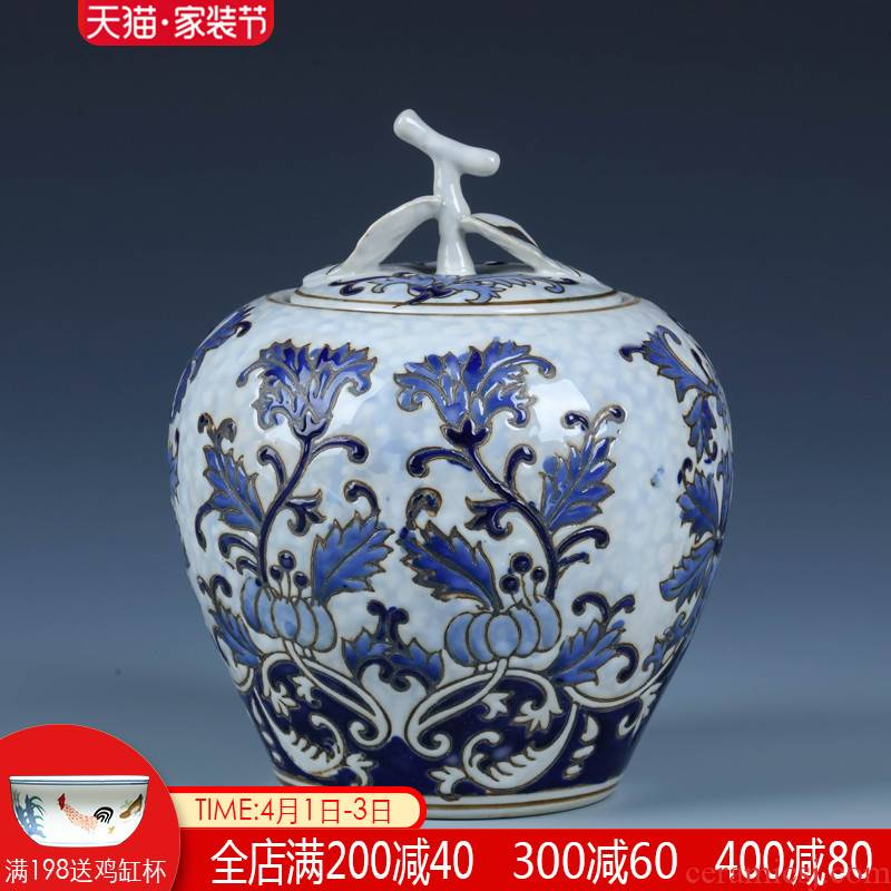 New Chinese style ceramic furnishing articles storage jar with cover of jingdezhen porcelain sitting room wine rich ancient frame decorative arts and crafts