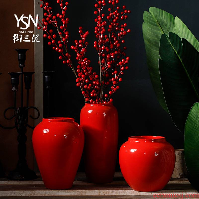 Red Chinese jingdezhen ceramics creative household plug-in artificial flowers dried flower adornment of I sitting room place mesa vase