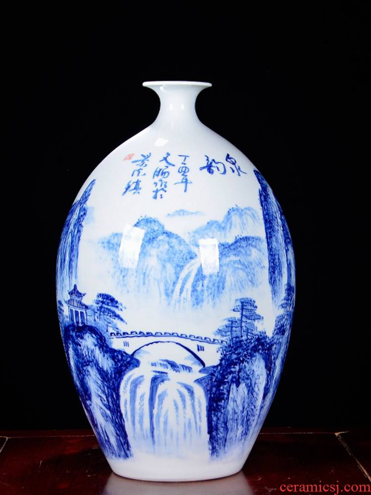 Jingdezhen ceramics famous hand - made flowers in the sitting room of Chinese style household adornment of blue and white porcelain vase furnishing articles furnishing articles