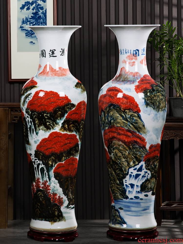 Jingdezhen hand - made ceramics figure sitting room of large vase landscape bonanza of new home decoration of Chinese style household furnishing articles