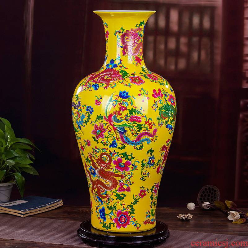 320 jingdezhen ceramic modern yellow jinlong home furnishing articles sitting room ground fuels the vase vase