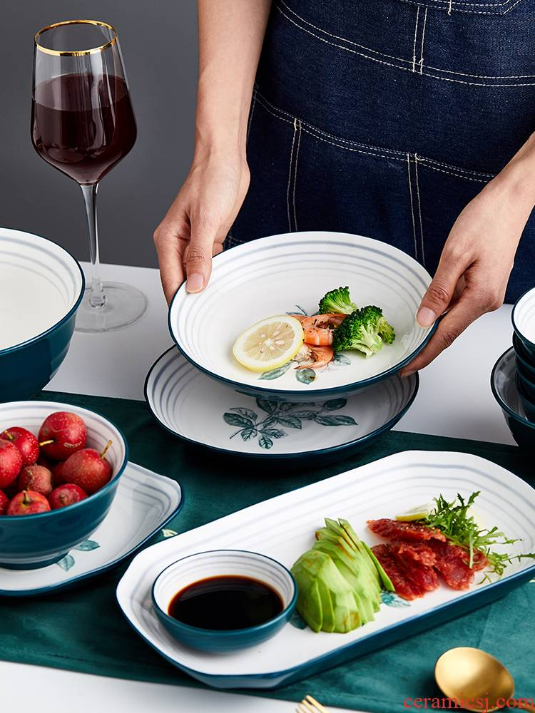Household Nordic contracted individual job rainbow such as bowl bowl web celebrity ins tableware ceramics creative soup bowl dish plate DIY combination