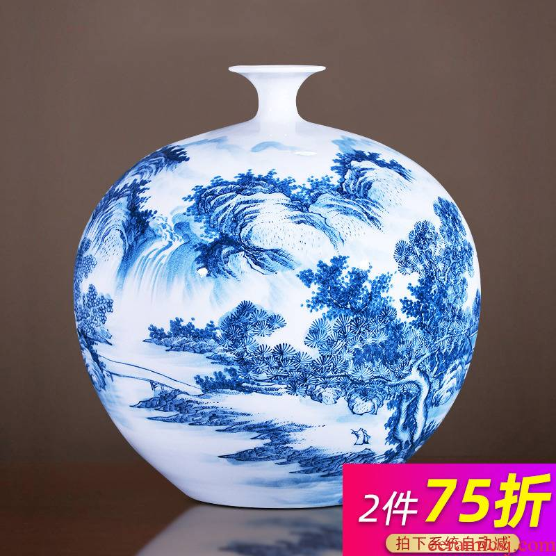 Jingdezhen ceramics glaze color hand - made pomegranates of blue and white porcelain bottle under large flower bottle furnishing articles of Chinese style living room accessories