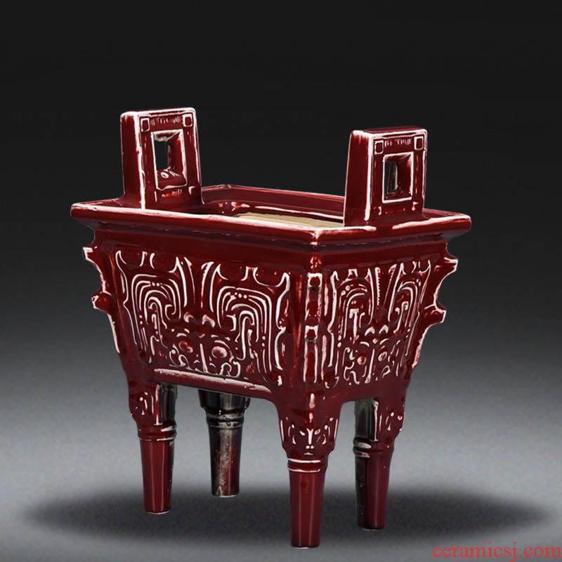Jingdezhen ceramics archaize ji HongSi square corners of aromatherapy furnace incense buner sweets burn incense buner