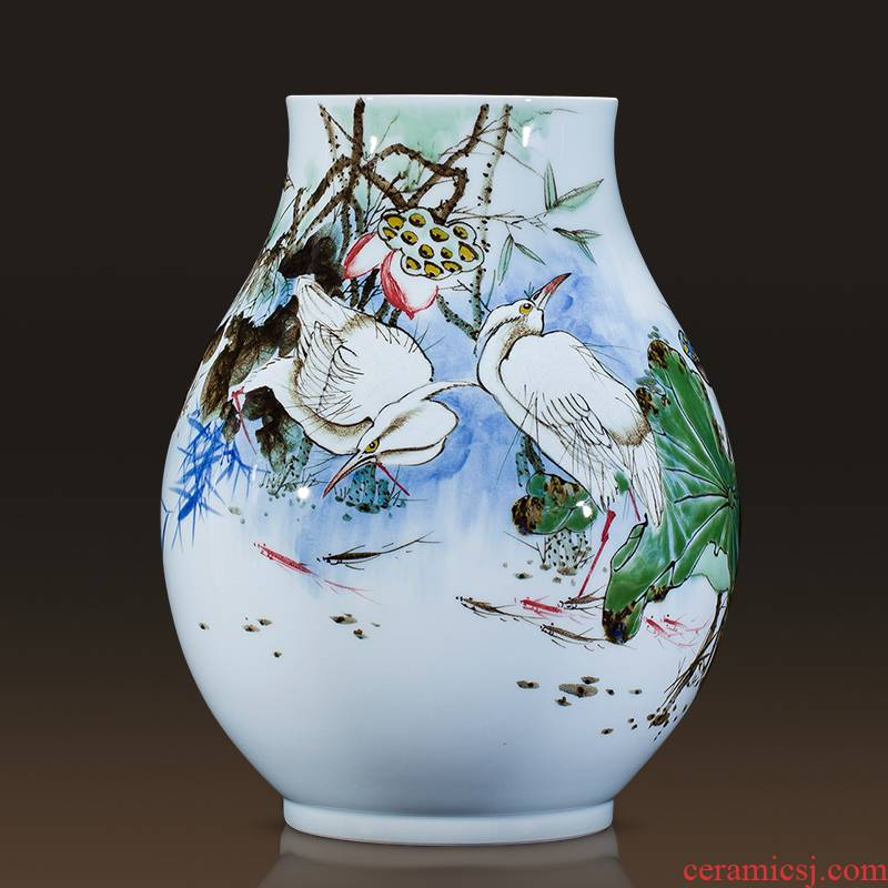 Jingdezhen famous master hand - made ceramics up vases, flower arrangement of modern Chinese style adornment is placed large living room