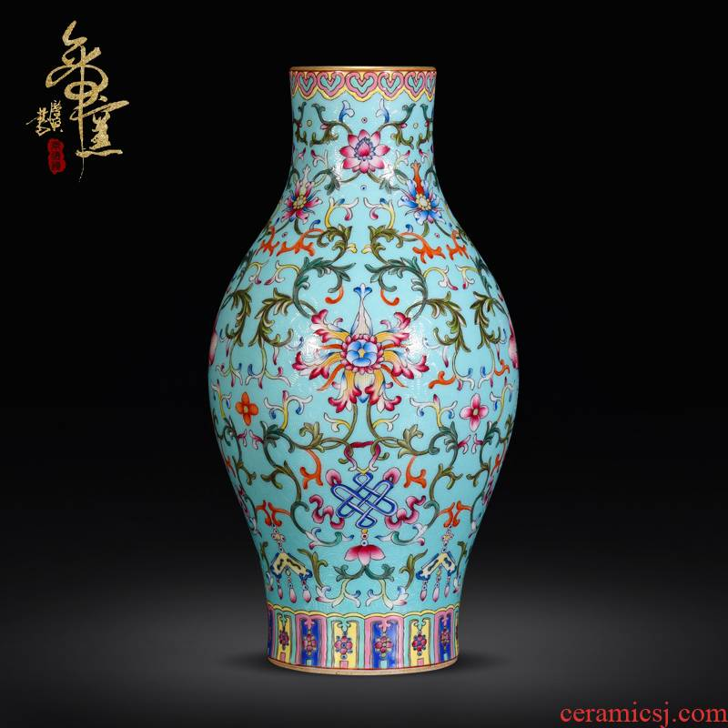 Emperor up archaize colored enamel olive bottle hand - made Chinese vase jingdezhen ceramics collection of furnishing articles sitting room adornment