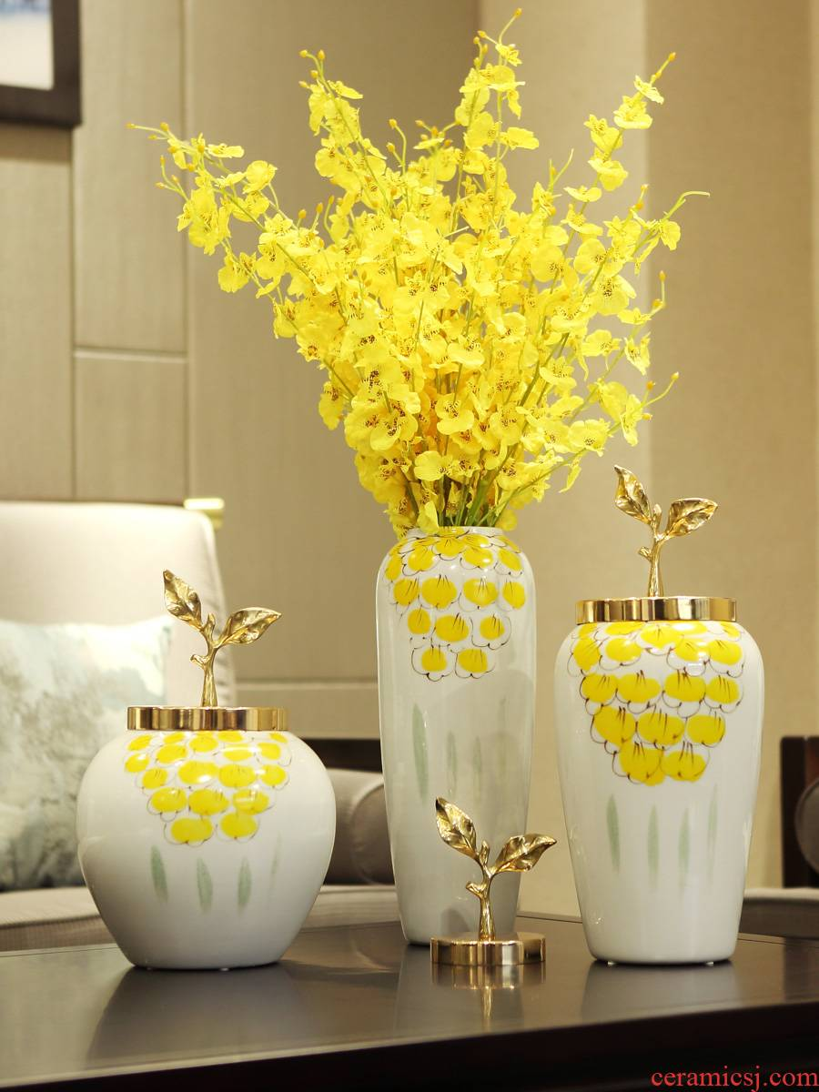 I and contracted new Chinese vase dry flower arranging flowers, ceramic flower implement the sitting room TV ark, porch light decoration key-2 luxury furnishing articles