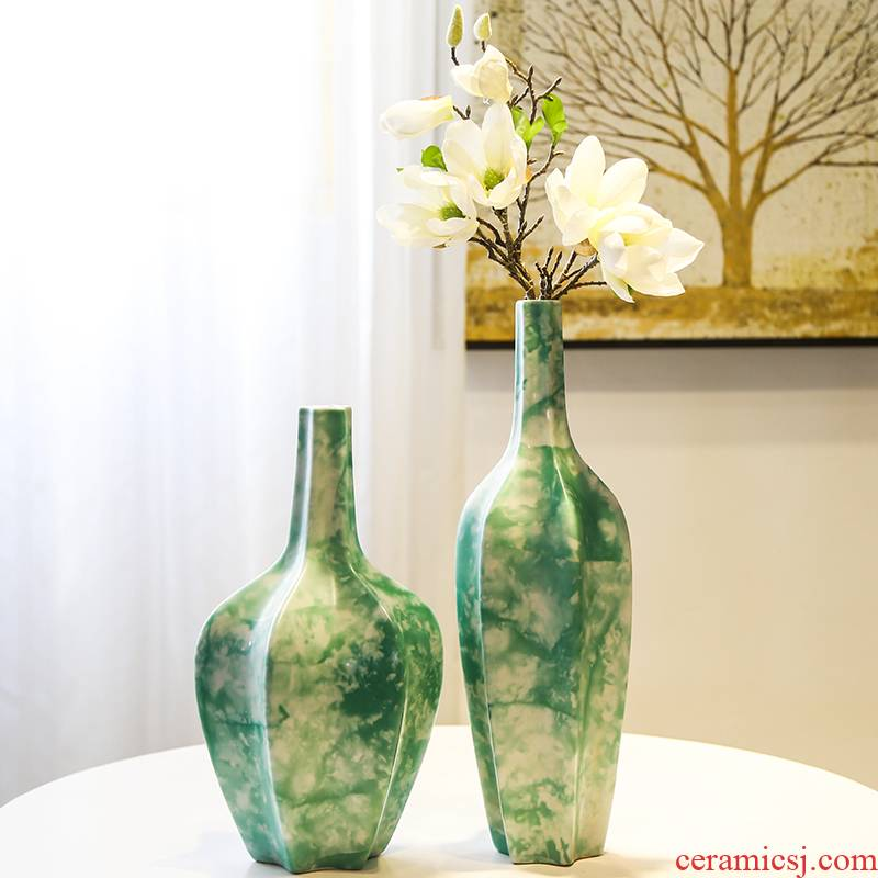 Jingdezhen ceramic new Chinese style flower vase furnishing articles sitting room porch decoration flower implement the simulation of dry flower on the table