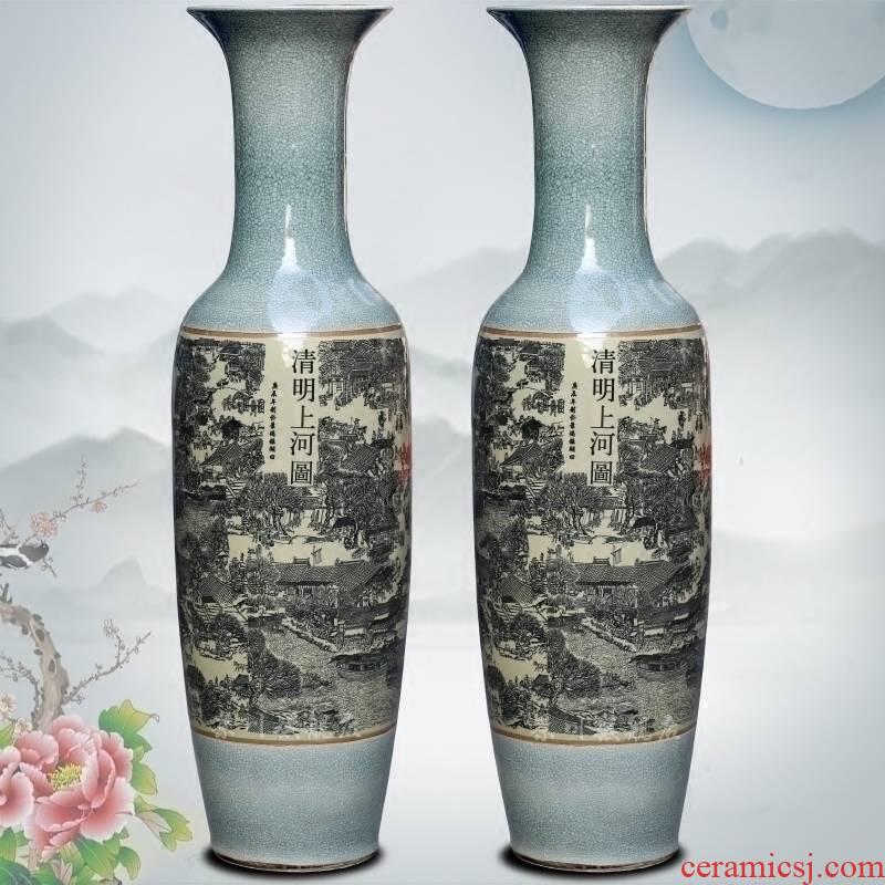 Jingdezhen ceramic antique piece of open crack glaze the qing Ming vase painting of large sitting room place hotel decoration